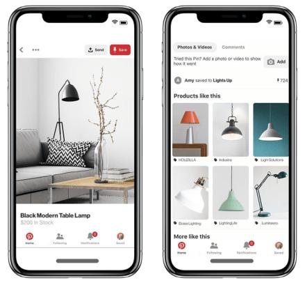 Eksempel på Pinterest Shopping-annoncer på mobilen