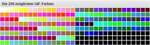 Aufzeigen von 256 GIF-Farben