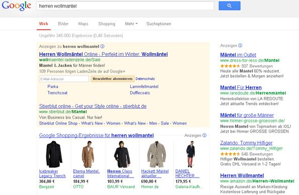 Product Listing Ads in der Google Suche: Herren Wollmantel