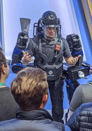 Delta powered exoskeleton that enables baggage handlers to move heavy luggage