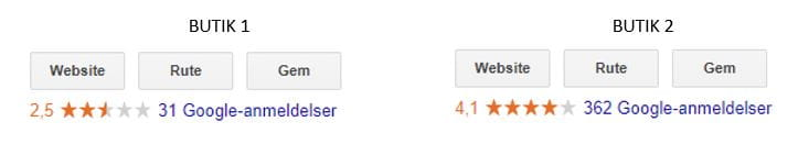 Google My Business Reviews - sammenligning af stjerner