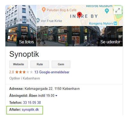 Google My Business - Eksempel på aftaler-feature