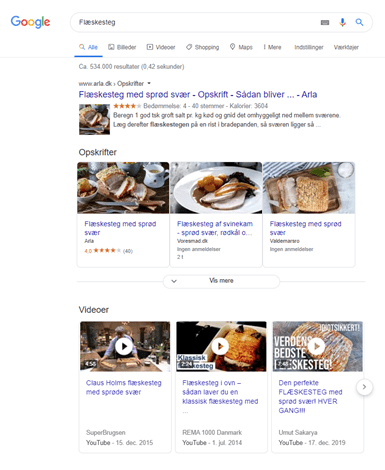 Eksempel på videoresultater på Google