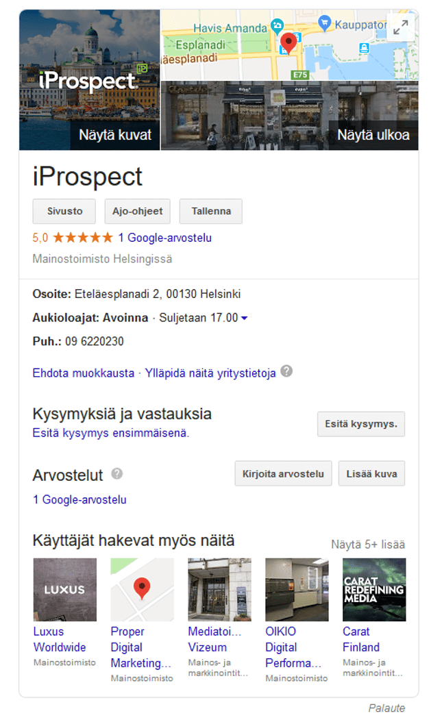 Google my business näkymä