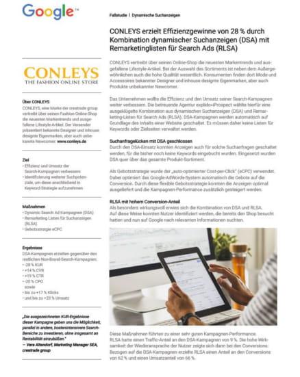 Case Study Conleys Dynamische Suchanzeigen