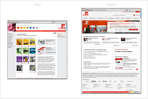 grafische Gegenüberstellung von alter und neuer Startseite