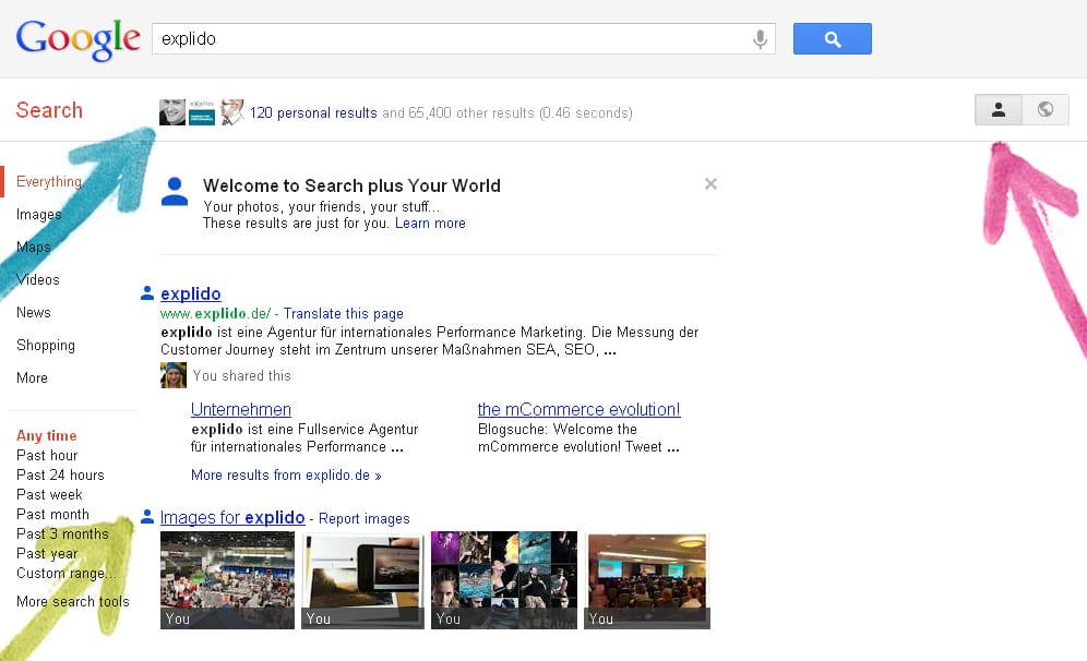 Google bringt persönliche Inhalte in die Suchergebnisse ein