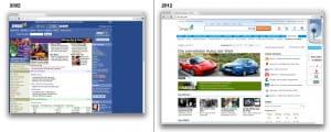 Gegeneinanderstellung der MSN Website aus den Jahren 2002 und 2012