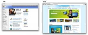 Gegeneinanderstellung der Windows Website aus den Jahren 2002 und 2012