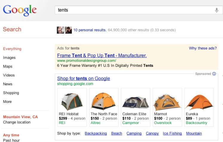 Google Shopping Ergebnisse als bezahlte Anzeigen