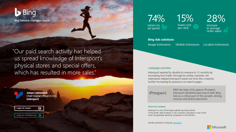Intersport och Bing ads infographic