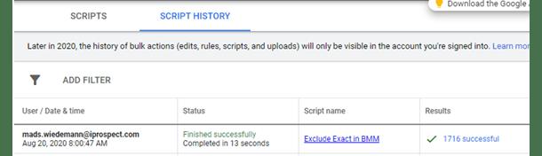 Eksempel på resultat i Script History efter brug af Preview