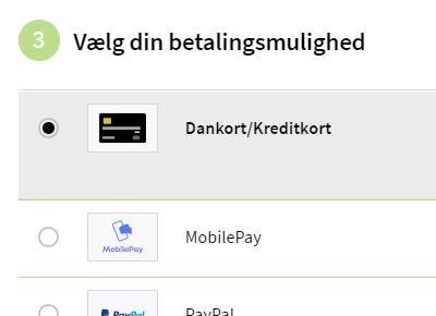 Eksempel på betalingsmuligheder i checkout flowet
