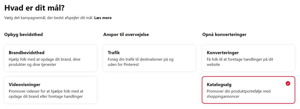 Valg af katalogsalg som kampagnemål i Pinterest Ads Manager